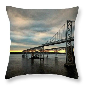 Chesapeake Bay Bridge At Twilight Throw Pillow