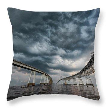 Chesapeake Bay Bridge Storm Throw Pillow