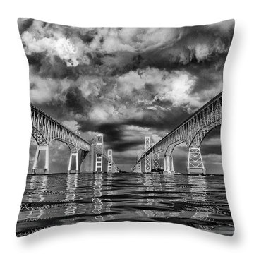 Chesapeake Bay Bw Throw Pillow