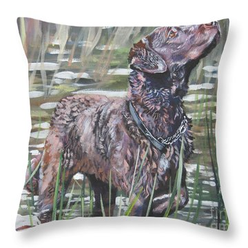 Chesapeake Bay Retriever Bird Dog Throw Pillow by Lee Ann Shepard
