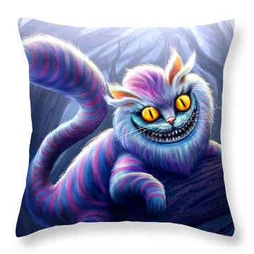 Cheshire Cat Throw Pillow by Anthony Christou