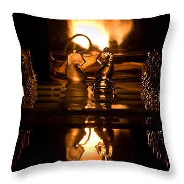 Chess Knights And Flame Throw Pillow