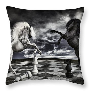 Chess Players Throw Pillow by Mihaela Pater