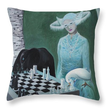 Chess - The Queen Waits Throw Pillow