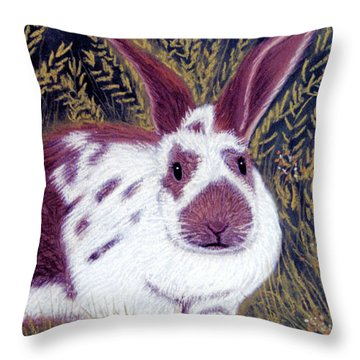 Throw Pillow featuring the pastel Chester Bun by Jan Amiss