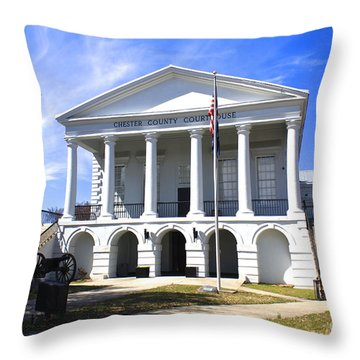 Chester South Carolina Court House Day 1 Throw Pillow
