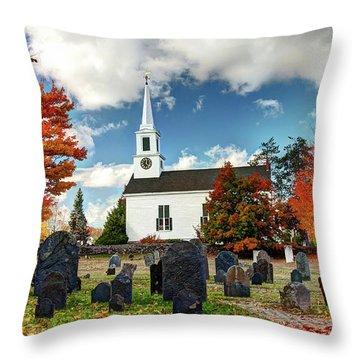 Chester Village Cemetery In Autumn Throw Pillow