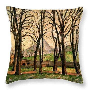 Chestnut Trees At The Jas De Bouffan Throw Pillow by Paul Cezanne