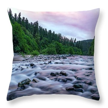 Chetco River Sunset 2 Throw Pillow by Leland D Howard