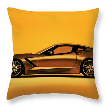 Chevrolet Corvette Stingray 2013 Painting Throw Pillow
