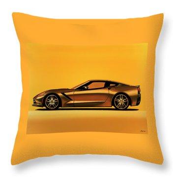 Chevrolet Corvette Stingray 2013 Painting Throw Pillow