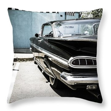 Chevrolet Impala In Front Of American Diner Throw Pillow