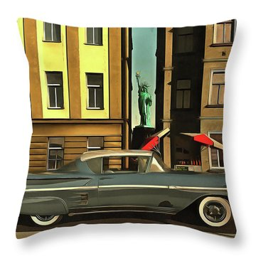 Chevrolette Impala At The Big Apple Throw Pillow