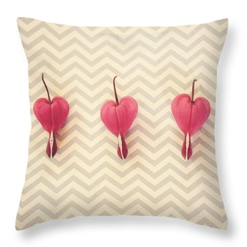Throw Pillow featuring the photograph Chevron Hearts by Robin Dickinson
