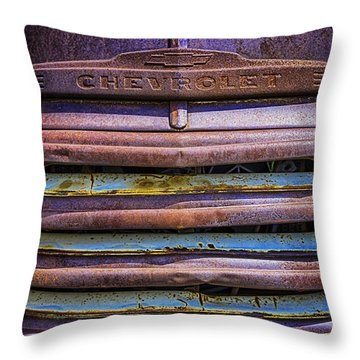 Throw Pillow featuring the photograph Chevy 3100 Grill by Bitter Buffalo Photography