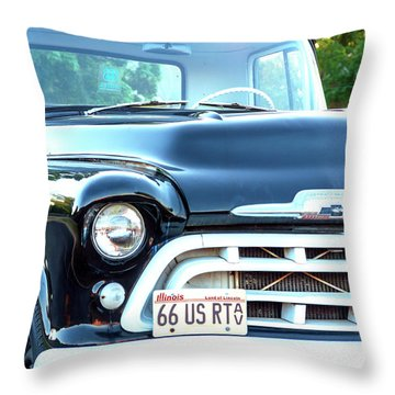 Chevy 3100 Truck Along Route 66 Throw Pillow
