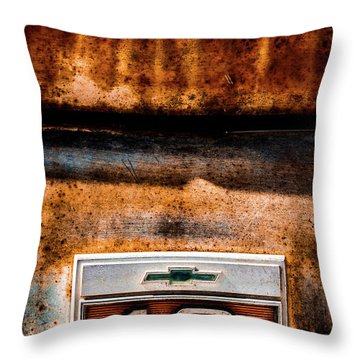 Chevy C10 Rusted Emblem Throw Pillow