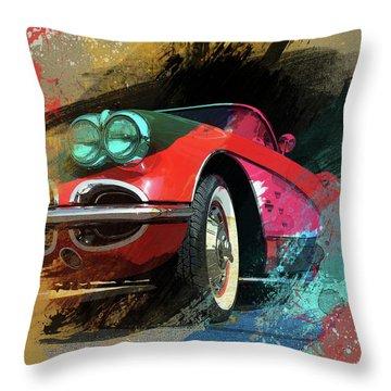 Chevy Corvette Digital Art Throw Pillow
