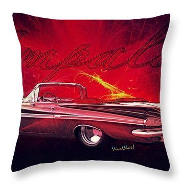 Chevy Impala Convertible For 1959 Throw Pillow