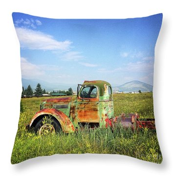 Throw Pillow featuring the mixed media Chevy In A Field by Terry Rowe