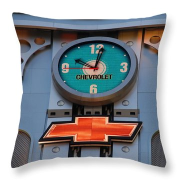 Chevy Times Square Clock Throw Pillow by Rob Hans