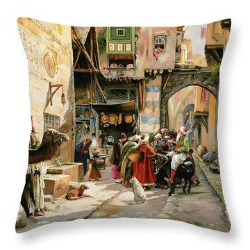 Chiacchiere Al Mercato Throw Pillow