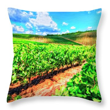 Chianti Vineyard In Tuscany Throw Pillow by Dominic Piperata