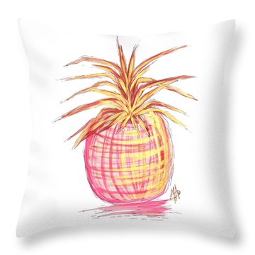 Chic Pink Metallic Gold Pineapple Fruit Wall Art Aroon Melane 2015 Collection By Madart Throw Pillow by Megan Duncanson