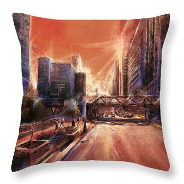 Chicaco Street 3 Throw Pillow