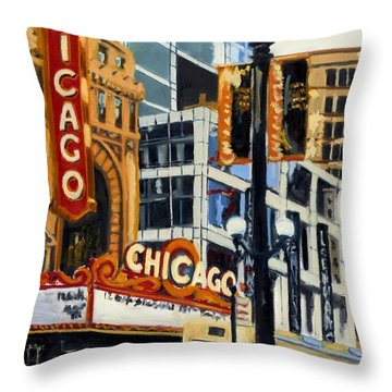 Chicago - The Chicago Theater Throw Pillow