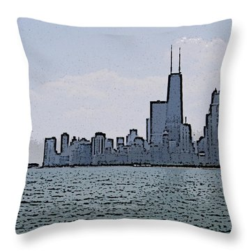 Throw Pillow featuring the photograph Chicago Across Lake Michigan by Skyler Tipton