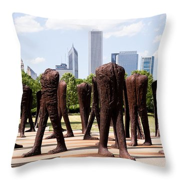 Chicago Agora Headless Statues Throw Pillow by Paul Velgos