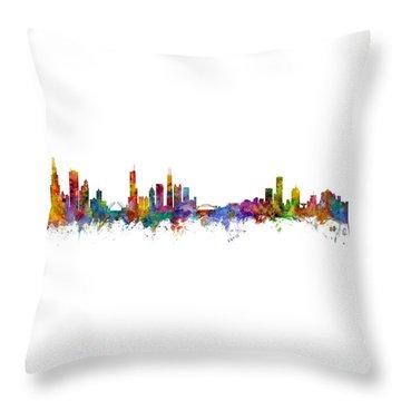 Chicago And Milwaukee Skyline Mashup Throw Pillow
