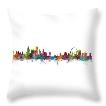Chicago And St Louis Skyline Mashup Throw Pillow
