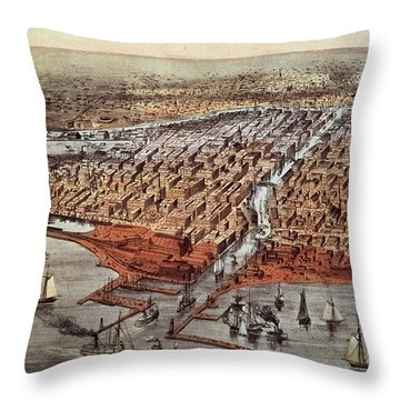 Chicago As It Was Throw Pillow by Currier and Ives