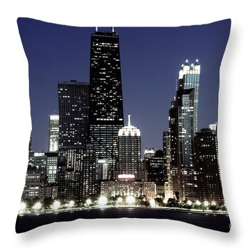 Chicago At Night High Resolution Throw Pillow by Paul Velgos