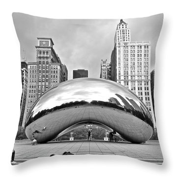 Chicago Bean In Black And White Throw Pillow
