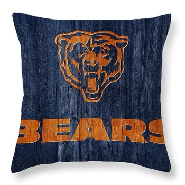 Chicago Bears Barn Door Throw Pillow by Dan Sproul