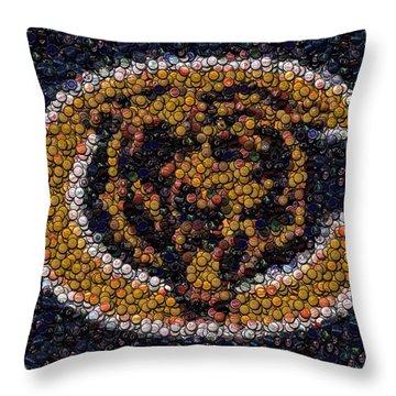 Chicago Bears Bottle Cap Mosaic Throw Pillow by Paul Van Scott