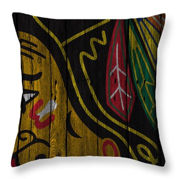 Chicago Blackhawks Wood Fence Throw Pillow