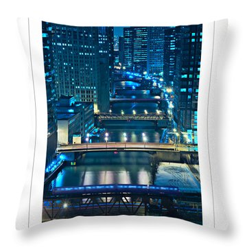 Chicago Bridges Poster Throw Pillow by Steve Gadomski