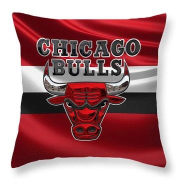 Chicago Bulls - 3 D Badge Over Flag Throw Pillow