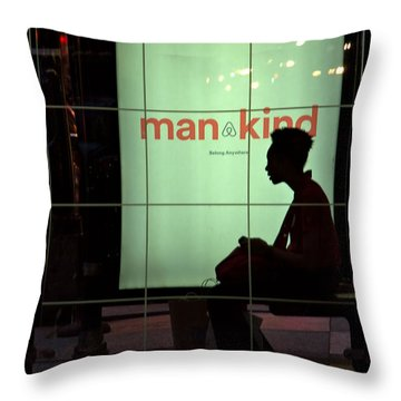 Chicago Bus Stop Throw Pillow by Steven Richman