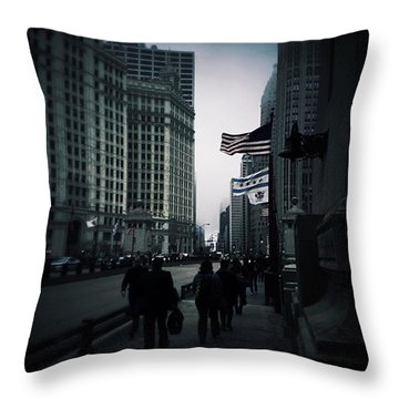 Chicago City Fog Throw Pillow by Frank J Casella