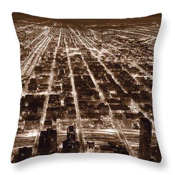 Chicago City Lights West B W Throw Pillow by Steve Gadomski