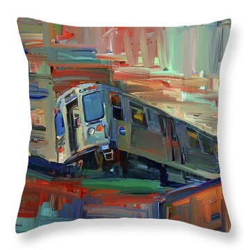 Chicago City Train Throw Pillow