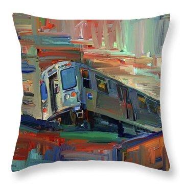 Chicago City Train Throw Pillow