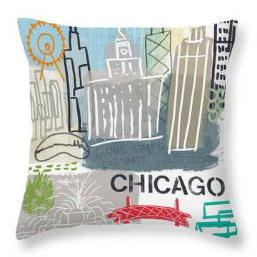 Chicago Cityscape- Art By Linda Woods Throw Pillow