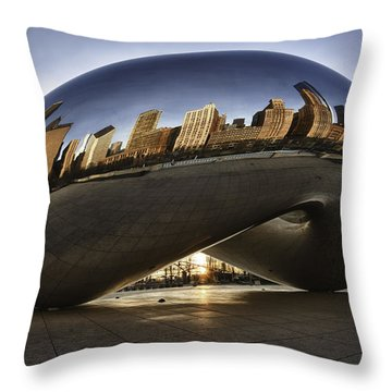 Chicago Cloud Gate At Sunrise Throw Pillow by Sebastian Musial