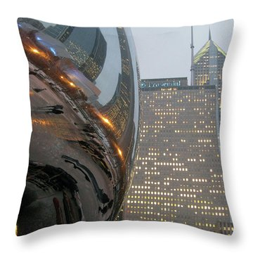 Throw Pillow featuring the photograph Chicago Cloud Gate. Reflections by Ausra Huntington nee Paulauskaite